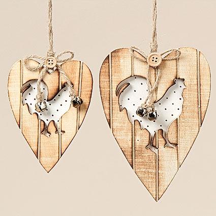 Dřevěné srdce k zavěšení - sada 2 ks