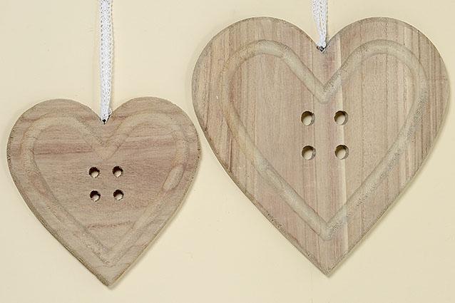 Dekorační dřevěné srdce na zavěšení - velké