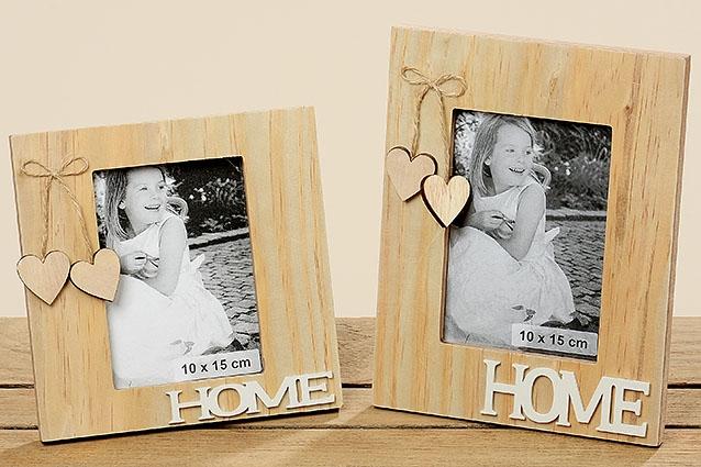 """Dřevěný rámeček na fotografii """"HOME"""" - větší"""