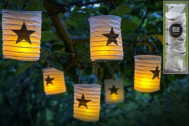 LED papírový lampion s hvězdou - set 6 ks