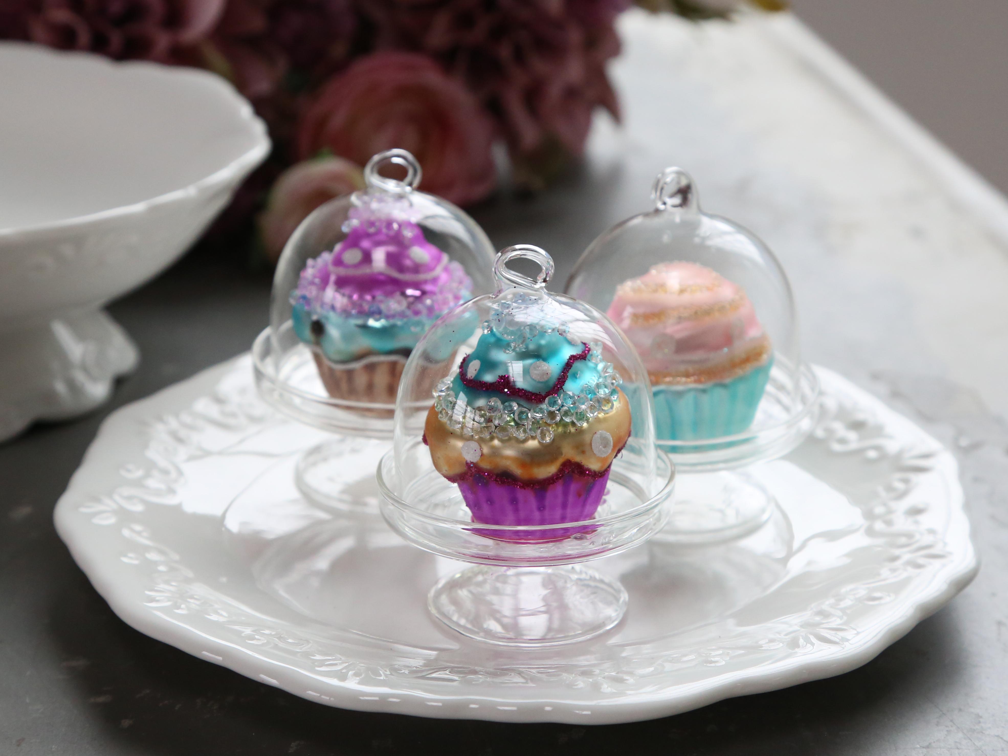 Skleněný cupcake na zavěšení