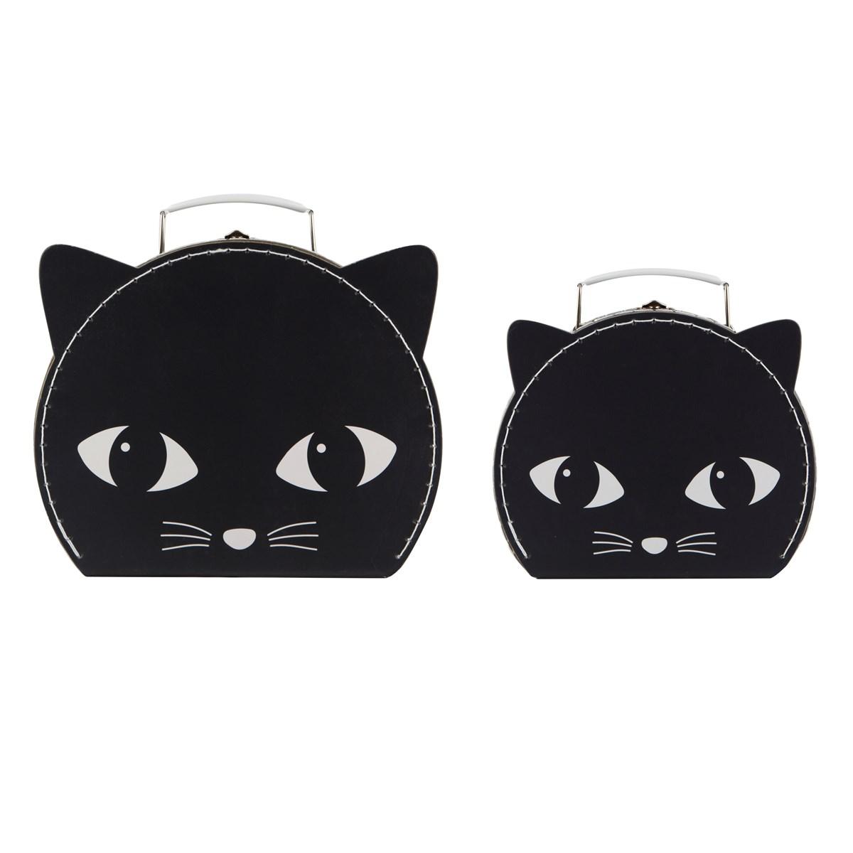 """Kartonový kufřík """"Kočka"""" černý - menší"""