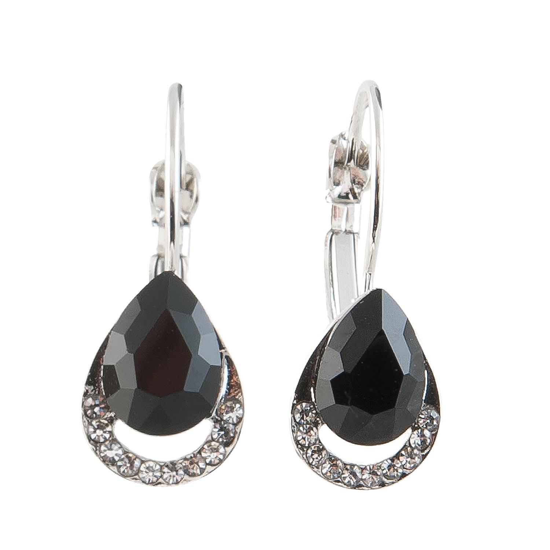 Náušnice stříbrné s kamínkem - černé
