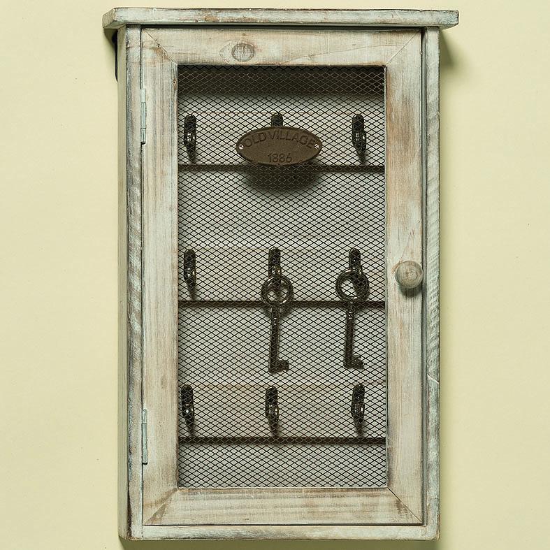 Dřevěná skříňka na klíče s háčky