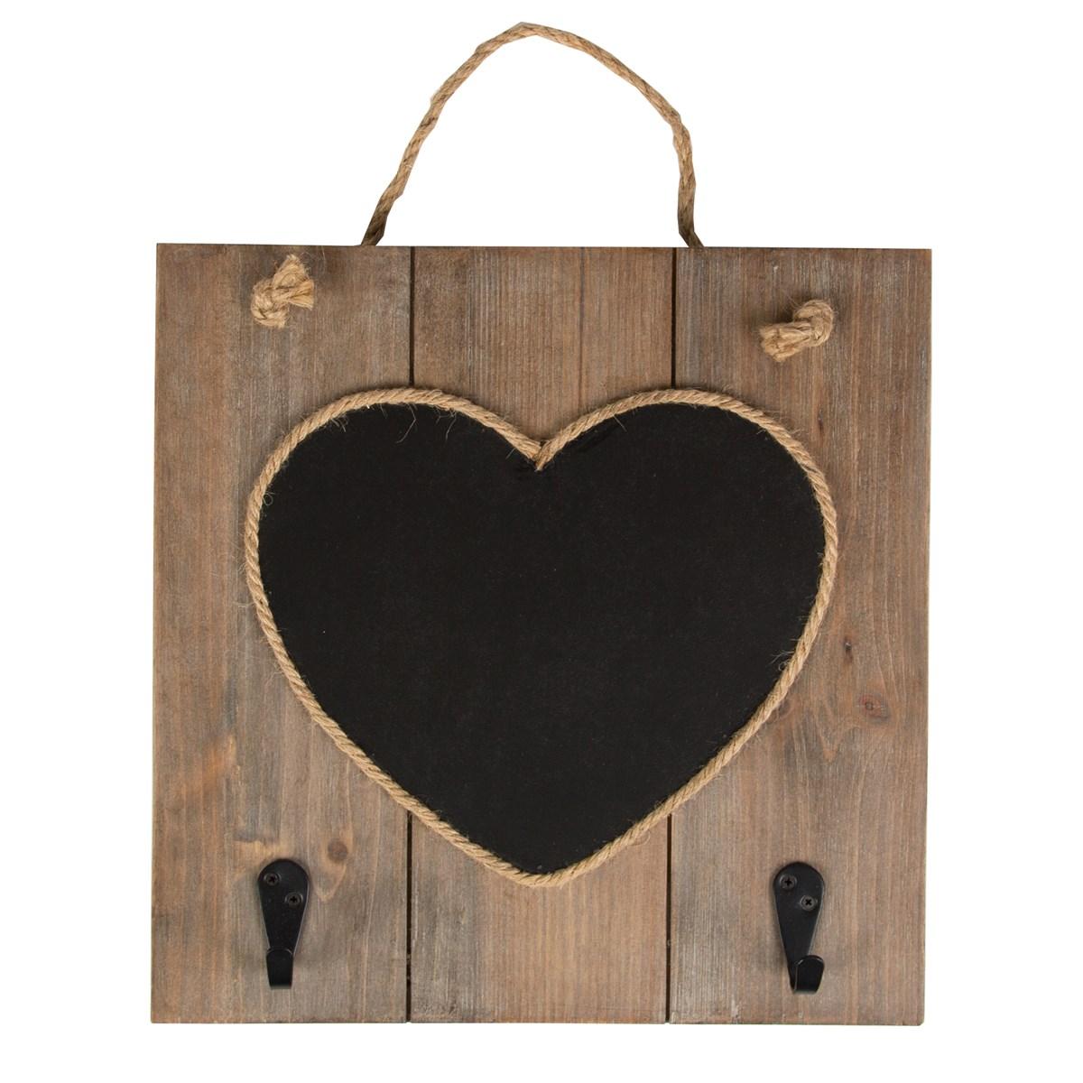 Dřevěná tabule na křídu Srdce s háčky