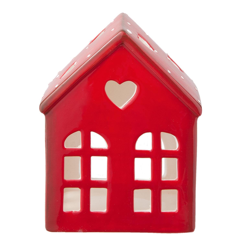 Keramický domek na svíčku červený