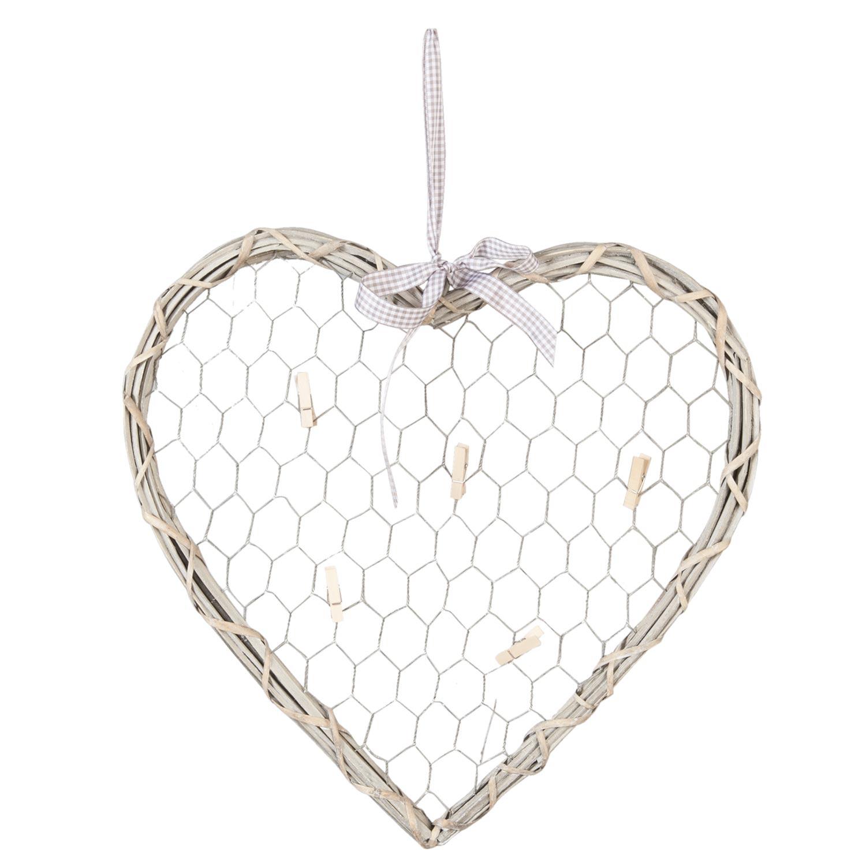 Proutěné srdce s kolíčky na vzkazy - šedé