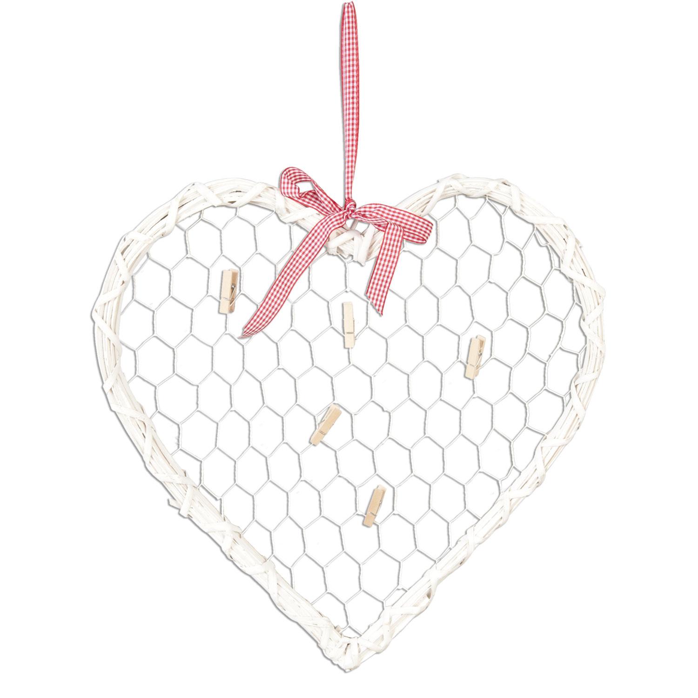 Proutěné srdce s kolíčky na vzkazy - bílé