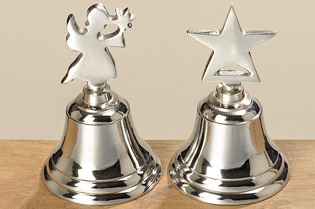 Kovový zvoneček stříbrný 12 cm