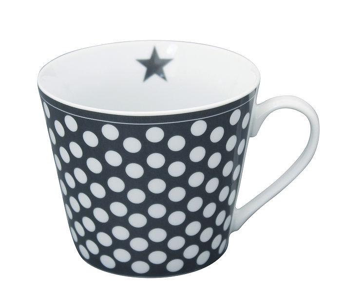 Porcelánový hrnek Dark grey dots 350 ml